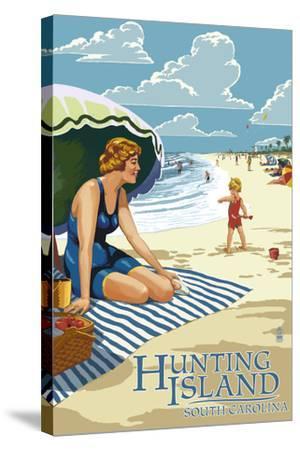 Hunting Island, South Carolina - Woman on Beach-Lantern Press-Stretched Canvas Print