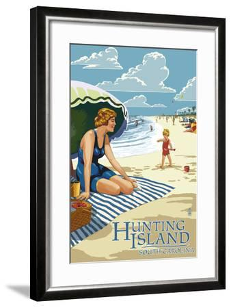 Hunting Island, South Carolina - Woman on Beach-Lantern Press-Framed Art Print