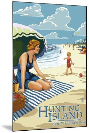 Hunting Island, South Carolina - Woman on Beach-Lantern Press-Mounted Art Print