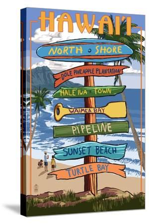North Shore, Oahu, Hawaii - Sign Destinations-Lantern Press-Stretched Canvas Print