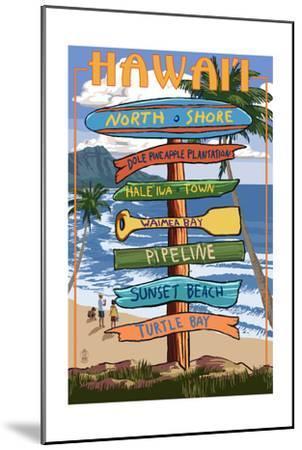 North Shore, Oahu, Hawaii - Sign Destinations-Lantern Press-Mounted Art Print