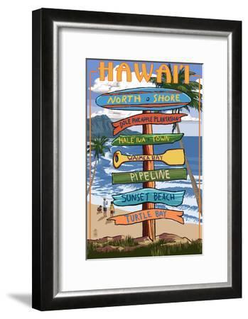 North Shore, Oahu, Hawaii - Sign Destinations-Lantern Press-Framed Art Print