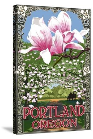 Portland, Oregon - Garden and Magnolia Scene-Lantern Press-Stretched Canvas Print