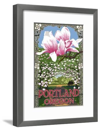 Portland, Oregon - Garden and Magnolia Scene-Lantern Press-Framed Art Print