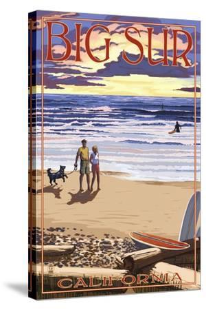 Big Sur, California - Sunset Beach Scene-Lantern Press-Stretched Canvas Print