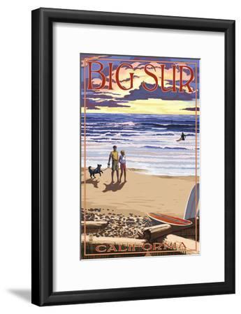 Big Sur, California - Sunset Beach Scene-Lantern Press-Framed Art Print