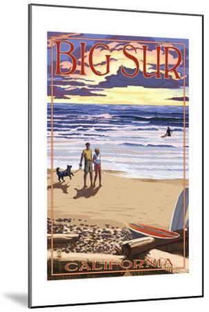 Big Sur, California - Sunset Beach Scene-Lantern Press-Mounted Art Print