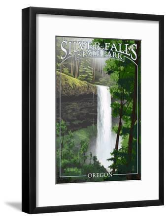 Silver Falls State Park, Oregon - South Falls-Lantern Press-Framed Art Print