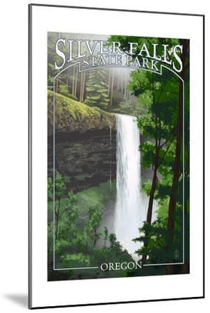 Silver Falls State Park, Oregon - South Falls-Lantern Press-Mounted Art Print