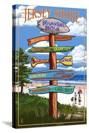 Brigantine Beach, New Jersey - Destinations Signpost-Lantern Press-Stretched Canvas Print