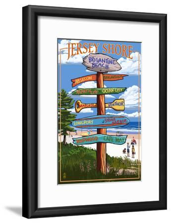 Brigantine Beach, New Jersey - Destinations Signpost-Lantern Press-Framed Art Print