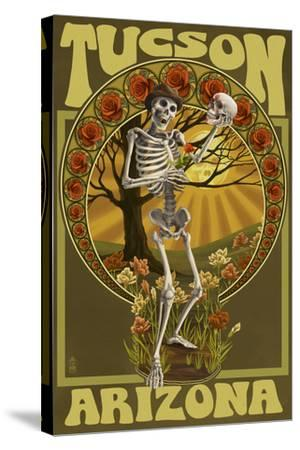 Tucson, Arizona - Day of the Dead - Skeleton Holding Sugar Skull-Lantern Press-Stretched Canvas Print