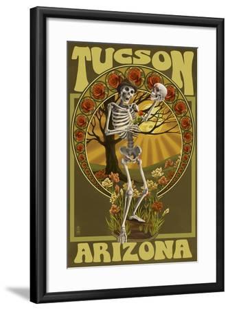 Tucson, Arizona - Day of the Dead - Skeleton Holding Sugar Skull-Lantern Press-Framed Art Print