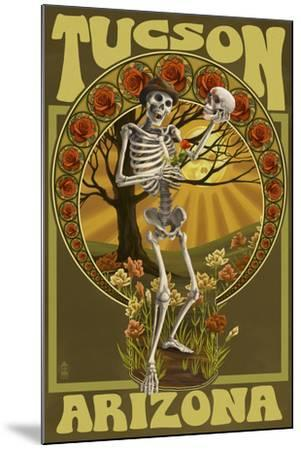 Tucson, Arizona - Day of the Dead - Skeleton Holding Sugar Skull-Lantern Press-Mounted Art Print