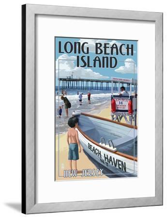 Beach Haven, New Jersey - Lifeguard Stand-Lantern Press-Framed Art Print