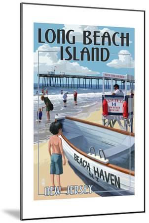 Beach Haven, New Jersey - Lifeguard Stand-Lantern Press-Mounted Art Print