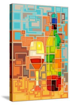 Wine Bottle and Glass Geometric-Lantern Press-Stretched Canvas Print