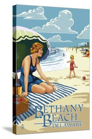 Bethany Beach, Delaware - Woman on Beach-Lantern Press-Stretched Canvas Print