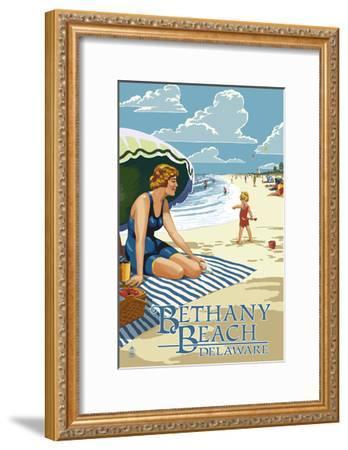 Bethany Beach, Delaware - Woman on Beach-Lantern Press-Framed Art Print