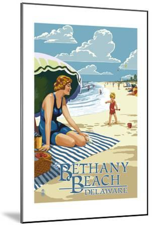 Bethany Beach, Delaware - Woman on Beach-Lantern Press-Mounted Art Print