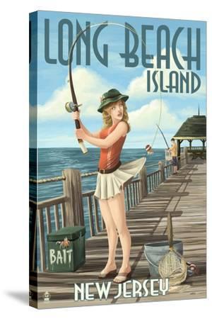 Long Beach Island, New Jersey - Fishing Pinup Girl-Lantern Press-Stretched Canvas Print