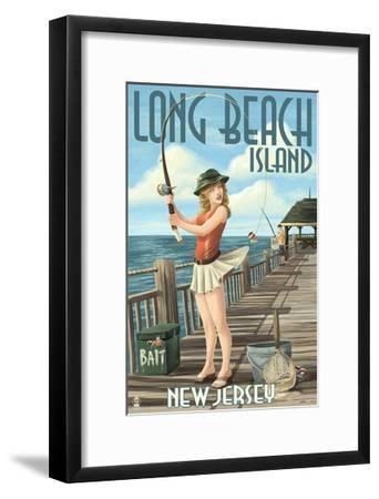 Long Beach Island, New Jersey - Fishing Pinup Girl-Lantern Press-Framed Art Print