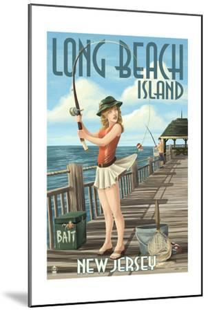 Long Beach Island, New Jersey - Fishing Pinup Girl-Lantern Press-Mounted Art Print