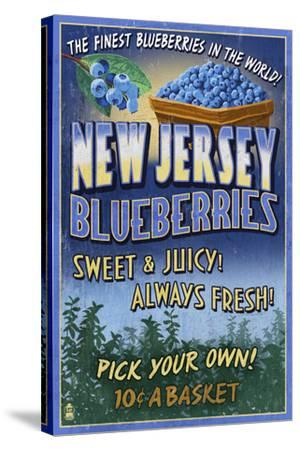 New Jersey - Blueberry Farm Vintage Sign-Lantern Press-Stretched Canvas Print