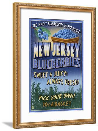 New Jersey - Blueberry Farm Vintage Sign-Lantern Press-Framed Art Print