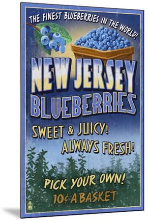 New Jersey - Blueberry Farm Vintage Sign-Lantern Press-Mounted Art Print