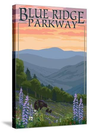 Blue Ridge Parkway - Bear Family and Spring Flowers-Lantern Press-Stretched Canvas Print
