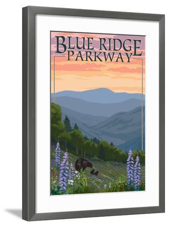 Blue Ridge Parkway - Bear Family and Spring Flowers-Lantern Press-Framed Art Print