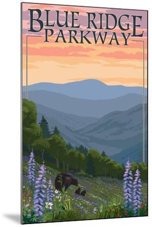 Blue Ridge Parkway - Bear Family and Spring Flowers-Lantern Press-Mounted Art Print
