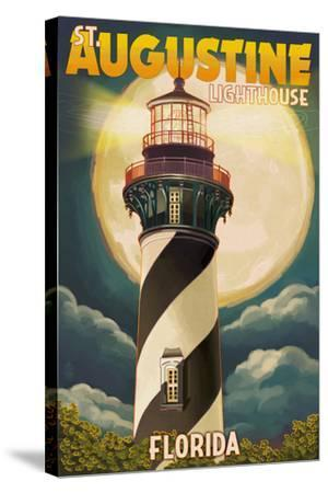 St. Augustine, Florida - Lighthouse and Moon-Lantern Press-Stretched Canvas Print