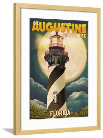 St. Augustine, Florida - Lighthouse and Moon-Lantern Press-Framed Art Print