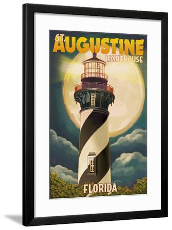 St. Augustine, Florida - Lighthouse and Moon-Lantern Press-Framed Art Print