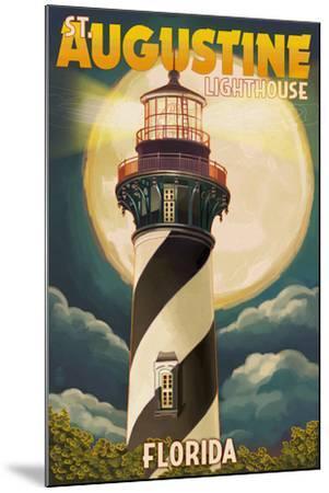 St. Augustine, Florida - Lighthouse and Moon-Lantern Press-Mounted Art Print