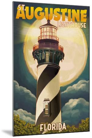 St. Augustine, Florida - Lighthouse and Moon-Lantern Press-Mounted Art Print