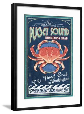 Puget Sound, Washington - Dungeness Crab Vintage Sign-Lantern Press-Framed Art Print