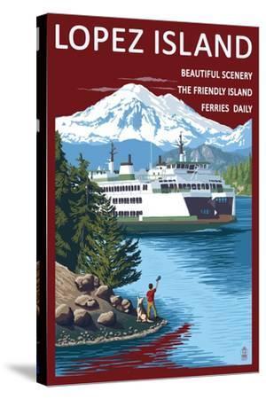 Lopez Island, Washington - Ferry and Boy-Lantern Press-Stretched Canvas Print