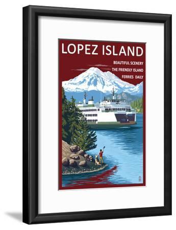 Lopez Island, Washington - Ferry and Boy-Lantern Press-Framed Art Print