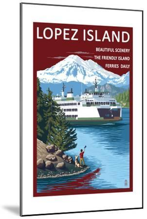 Lopez Island, Washington - Ferry and Boy-Lantern Press-Mounted Art Print
