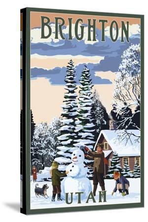Brighton Resort, Utah - Snowman Scene-Lantern Press-Stretched Canvas Print
