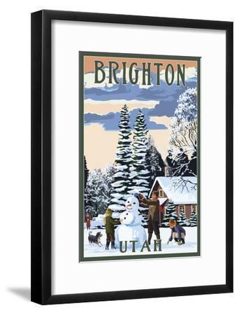 Brighton Resort, Utah - Snowman Scene-Lantern Press-Framed Art Print