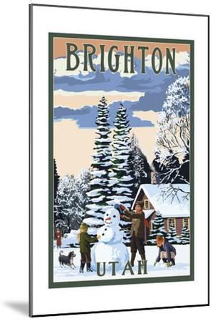 Brighton Resort, Utah - Snowman Scene-Lantern Press-Mounted Art Print