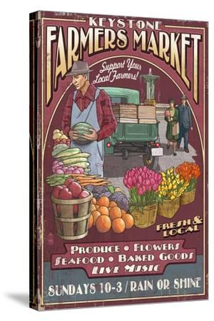 Keystone, Colorado - Farmers Market Vintage Sign-Lantern Press-Stretched Canvas Print