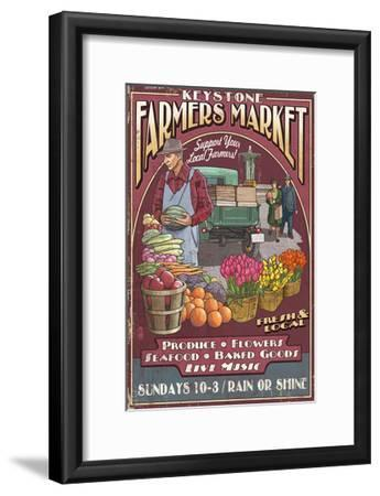 Keystone, Colorado - Farmers Market Vintage Sign-Lantern Press-Framed Art Print