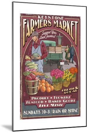 Keystone, Colorado - Farmers Market Vintage Sign-Lantern Press-Mounted Art Print