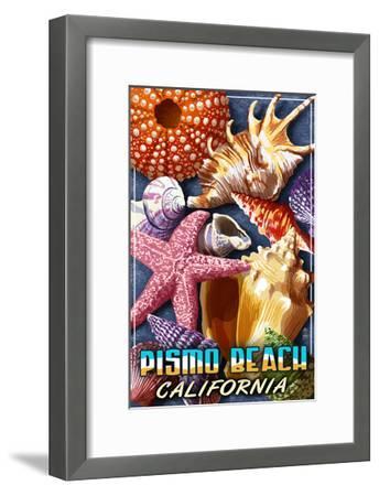 Pismo Beach, California - Shell Montage-Lantern Press-Framed Art Print