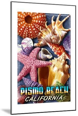 Pismo Beach, California - Shell Montage-Lantern Press-Mounted Art Print